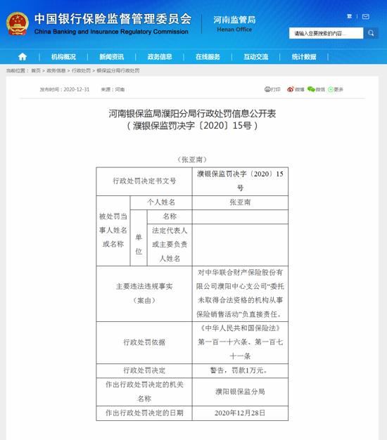 中华联合财产保险濮阳中心支因委托未取得合法资格的机构从事保险销售活动违规被罚款6万元